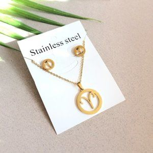 Zodiac Aries Stainless Steel Necklace Earrings Set
